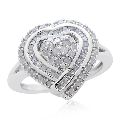 Diamond (Rnd) Heart Ring in Platinum Overlay Sterling Silver 0.500 Ct.
