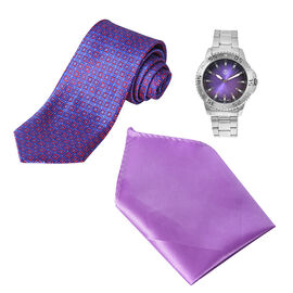 3 Piece Set - STRADA Japanese Movement Water Resistant Watch in Silver Tone and Purple Dial, Suit Ha