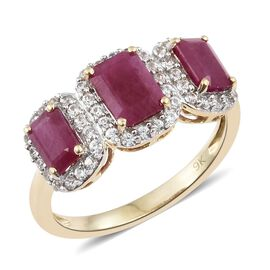 9K Gold AA Burmese Ruby and Natural Cambodian Zircon Ring