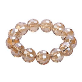 Simulated Champagne AB Crystal Beaded Stretchable Bracelet (Size 6.5)
