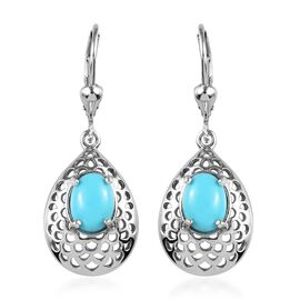 2 Carat Arizona Sleeping Beauty Turquoise Drop Earrings in Platinum Plated Silver
