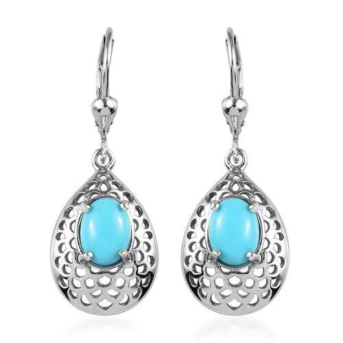 2 Carat Arizona Sleeping Beauty Turquoise Drop Earrings in Platinum Plated Silver