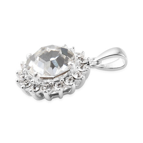 J Francis Crystal from Swarovski - White Colour Crystal (Rnd) Pendant in Sterling Silver
