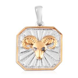 Diamond Aries Zodiac Pendant in Yellow Gold and Platinum Overlay Sterling Silver