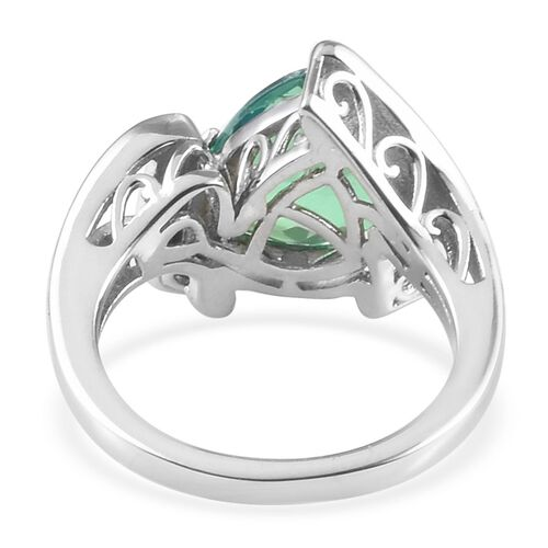 Peacock Quartz (Trl 10mm), Diamond Ring in Platinum Overlay Sterling Silver 3.11 Ct.