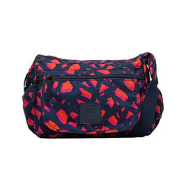 Artsac - Navy and Pink Colour Medium Size Torn Print Crossbody Bag with Zip Top (Size 340 x240 x130