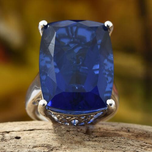 28.25 Ct Twilight Quartz Solitaire Ring in Platinum Plated Silver 7.91 Grams