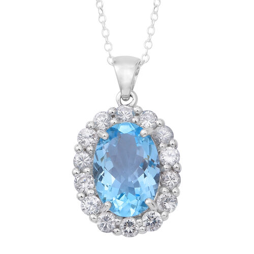 Limited Edition Designer Inspired Rare Size Swiss Blue Topaz (Ovl 14x10mm 7.10 Ct), Natural White Cambodian Zircon Pendant in Rhodium Plated Sterling Silver 9.50 Ct.
