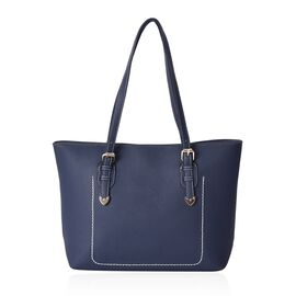 Litchi Pattern Tote Bag with Zipper Closure (Size 40x30 mm) - Navy