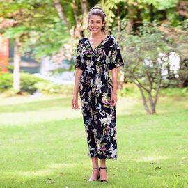 JOVIE V-Neckline Short Sleeves Printed Smocked dress