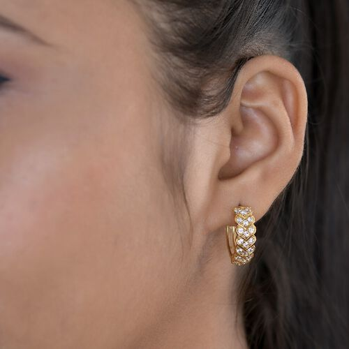 J Francis 14K Gold Overlay Sterling Silver Full Hoop Earrings (with Clasp) Made with SWAROVKSI ZIRCONIA 1.76 Ct.
