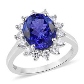 RHAPSODY 5.59 Ct AAAA Tanzanite and Diamond Halo Ring in 950 Platinum 6 Grams VSEF