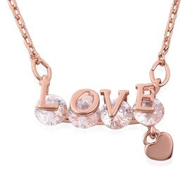 Simulated Diamond (Rnd) LOVE Necklace (Size 16.5 with 2 inch Extender) in Rose Gold Tone