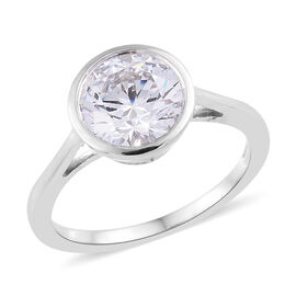 J Francis - Platinum Overlay Sterling Silver (Rnd) Solitaire Ring (Size N)  Made with SWAROVSKI ZIRCONIA