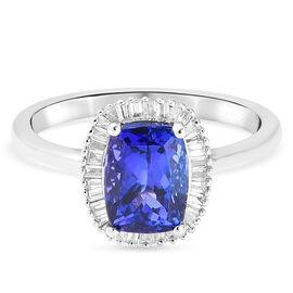 RHAPSODY 2 Carat AAAA Tanzanite and Diamond Halo Ring in 950 Platinum VS EF