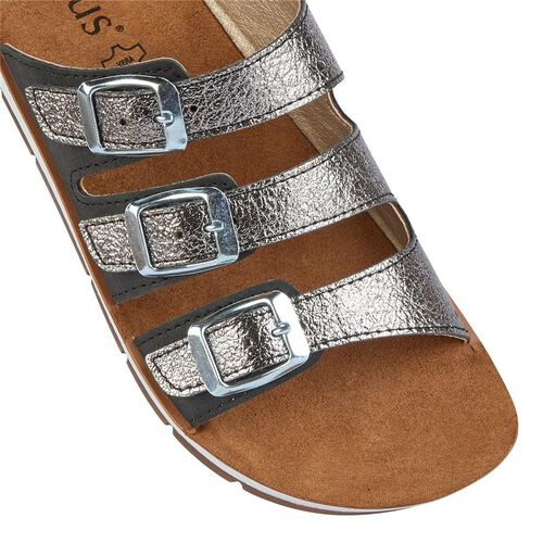 Lotus Turin Mule Sandals (Size 3) - Black and Pewter