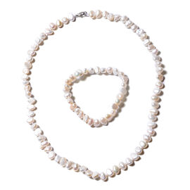 2 Piece Set - White Freshwater Pearl Bracelet (Size 7) and Necklace (Size 20) in Rhodium Overlay Ste