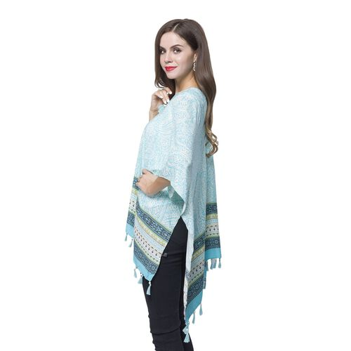 Turquoise, White and Multi Colour Bandana Pattern Poncho with Wooden Beads Adorned Tassels (Size 130X95 Cm)