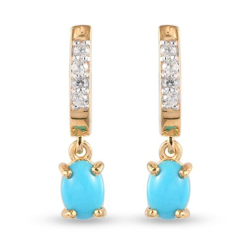 Arizona Sleeping Beauty Turquoise and Natural Cambodian Zircon Hoop Earrings with Drop in 14K Gold O
