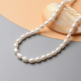 White Fresh Water Pearl  Necklace (Size - 16) Stainless Steel  0.00 ct  0.001  Ct.