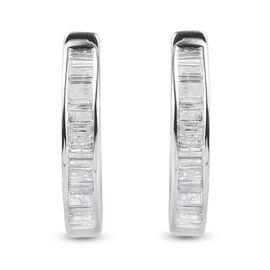 9K White Gold SGL Certified Diamond (I3/ G-H) Hoop Earrings 1.00 Ct.
