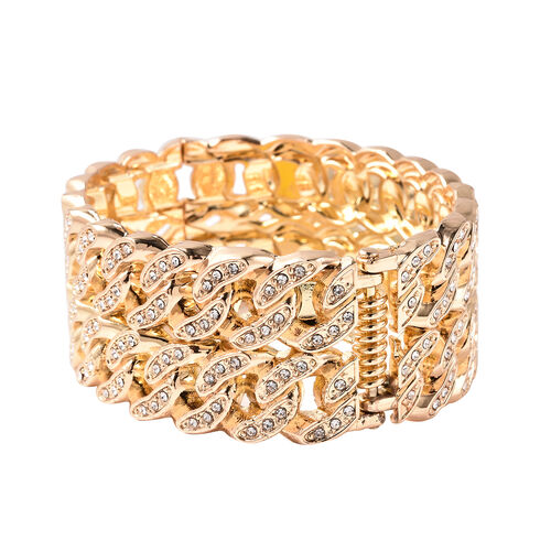 Designer Inspired - White Austrian Crystal Curb Bangle (Size 6.5) in Yellow Gold Tone