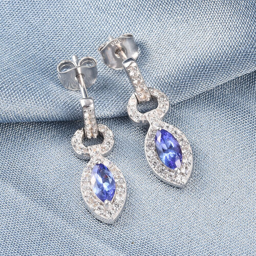 Tanzanite and Natural Cambodian Zircon Dangle Earrings (with Push Bcak) in Platinum Overlay Sterling Silver 1.47 Ct.