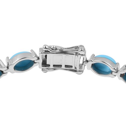 Arizona Sleeping Beauty Turquoise (Ovl) Bracelet (Size 8) in Rhodium Overlay Sterling Silver 16.500 Ct, Silver wt 11 Gms.