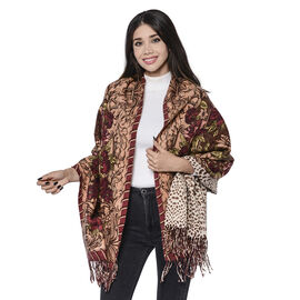 LA MAREY Super Soft 100% Lambswool Reversible Beige Leopard and Burgundy Floral Pattern Shawl with T