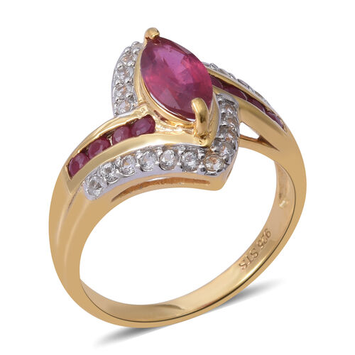 African Ruby (Mrq), Natural White Cambodian Zircon Ring in 14K Gold Overlay Sterling Silver 2.150 Ct.