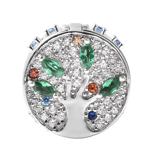 Charmes De Memoire- Simulated Emerald and Multi Colour Gemstone Openable Charm in Rhodium Overlay St