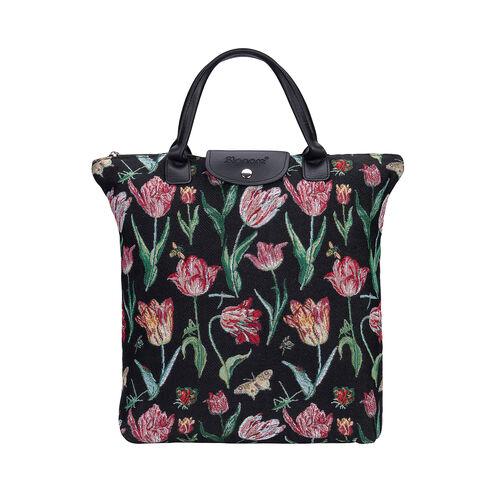 SIGNARE - NEW Tapestry Foldway Shopping Bag in Jacob Marrels Tulip Black Design (30x10x35 cms) - Bla