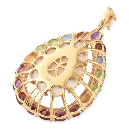 Ethiopian Welo Opal (Pear 1.50 Ct), Mozambique Garnet, Rhodolite Garnet, Hebei Peridot and Multi Gemstone Drop Pendant in 14K Gold Overlay Sterling Silver 11.000 Ct.