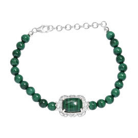 One Time Deal- Malachite (Cush 9.25 Ct) Bracelet (Size 7.5) in Sterling Silver 64.250 Ct.