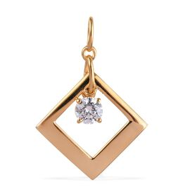 J Francis - 14K Gold Overlay Sterling Silver (Rnd) Pendant Made with SWAROVSKI ZIRCONIA 1.47 Ct.