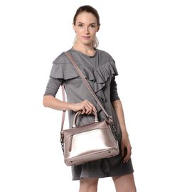 HONG KONG CLOSE OUT DEAL- 100% Genuine Leather Silver Pink Metallic Colour Tote Bag with External Zi