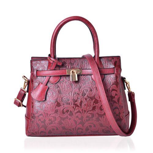 Chelsea Floral Embossed Rouge Red Tote Bag with External Zipper Pocket and Adjustable Shoulder Strap (Size 29x25x10.5 Cm)