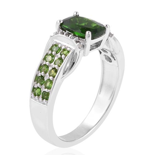 Russian Diopside (Cus 1.500 Ct.), Natural White Cambodian Zircon Ring in Rhodium Overlay Sterling Silver 2.170 Ct.