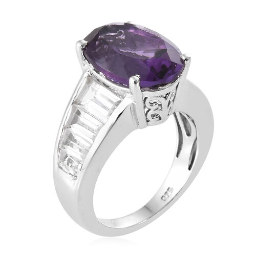 Amethyst (Ovl 5.40 Ct), White Topaz Ring in Platinum Overlay Sterling Silver 8.750 Ct.