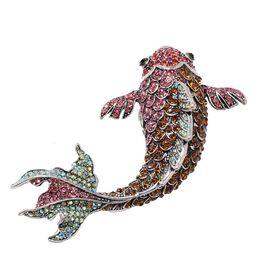Multicolour Austrian Crystal Fish Pendant with Chain in Stainless Steel