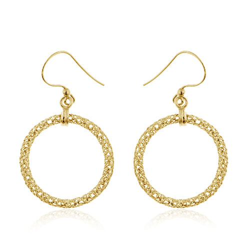 Italian Made-Yellow Gold Overlay Sterling Silver Round Hook Earrings, Silver wt 3.00 Gms.