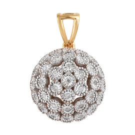 Diamond (Rnd) Pendant in 14K Gold Overlay Sterling Silver 0.250 Ct.