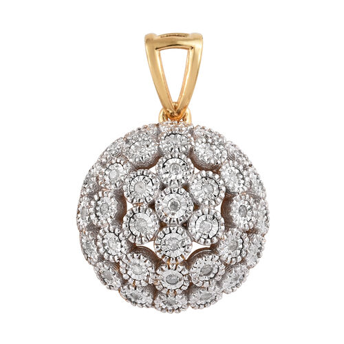Diamond (Rnd) Pendant in 14K Gold Overlay Sterling Silver 0.250 Ct.