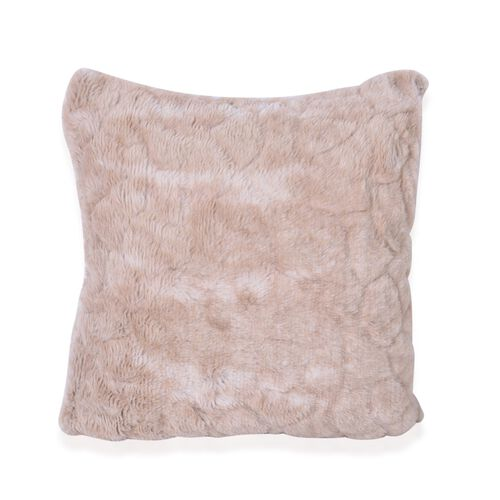 Luxury Edition - Set of 2 Light Brown Colour Reversible Long Pile Faux Fur Cushion Covers with Zipper on one Side, Beige (Size 43x43 cm)