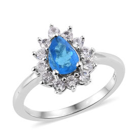 1.37 Ct Neon Apatite and Cambodian Zircon Halo Ring in Platinum Plated Sterling Silver 2.3 Grams