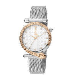Just Cavalli Glam Chic Japanese Movement Ladies Watch in Rose Gold and Silver Tone