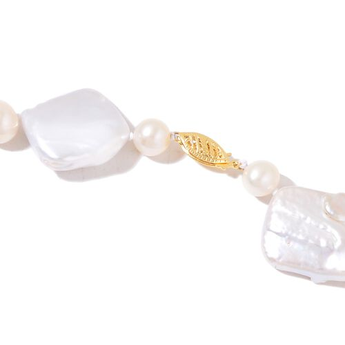 ILIANA 18K Yellow Gold AAAA Organic Keshi Pearl and Fresh Water White Pearl Necklace (Size 18)