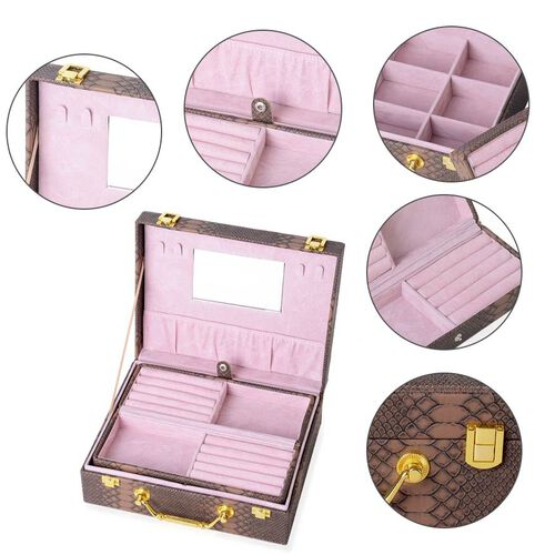 Monster Deal- Set of 2 - Multi Purpose Two-Tier Dragon Skin Pattern Jewellery Box in Coffee Colour