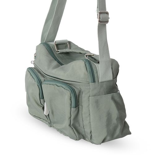 Green Water Resistant Multi Pockets Crossbody Bag with Adjustable Shoulder Strap (Size 25x20x9.5 Cm)