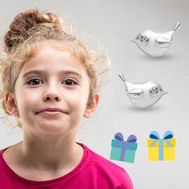 Little Bird Earrings for Children with Zircon in Sterling Silver